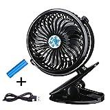 Rechargeable Battery Operated Fan by NMLJ Goods- Stroller Fan, Portable Desk Fan, Camping Gear, Portable Fan, USB Fan, Personal Fan, Clip On Fan - for Home, Office, Travel, Camping and more.