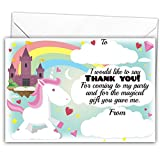 Pack of 20 Glossy Unicorn Party Thank You Note Cards with 20 Envelopes, party bag fillers, thank you cards, pony, little horses, unicorns, princess, fairytale, for children, kids birthday party