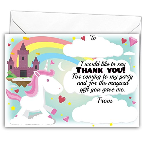 party bag fillers thank you cards kids birthday party Pack of 20 Glossy Unicorn Party Thank You Note Cards with 20 Envelopes fairytale for children pony princess unicorns little horses