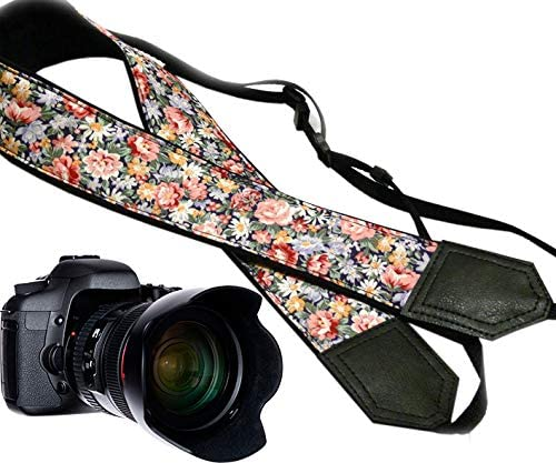 Light Weight and Well Padded Camera Strap Durable Daisies and Roses DSLR//SLR Camera Strap Flower Camera Strap Code 00113