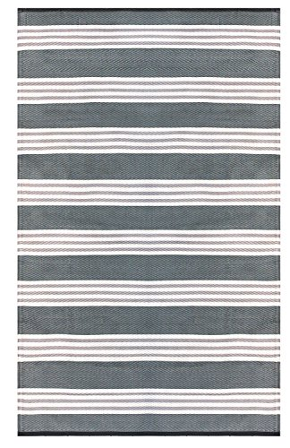 Recycled Easy Clean Outdoor Mat - The Original Earth Collective Rug - Reversible, UV resistant, Mildew Proof, Stripe Grey, Beige & White, Great for Patio, Beach, Picnic or RV Camping. Eco Friendly