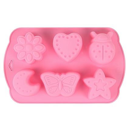 YOKIRIN 6 agujero Molde de Silicona para Chocolate Tarta Fondant Decoración Cake arcilla jabón Forma con