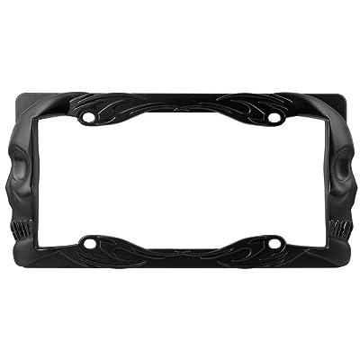 Custom Accessories Matte Black Custom 92877 Flaming Skull License Plate Frame: Automotive