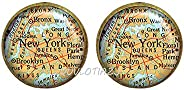 QUVLOTIAZJ New York map Earrings, New York map Stud Earrings, Queens map Brooklyn map Bronze map, New York Cit