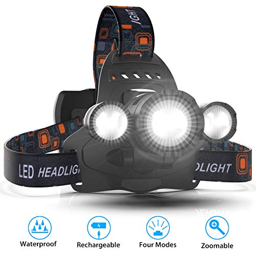 [2019 Latest] Headlamps, Hands Free Head Lamp Flashlight Kit, 4 Lighting Modes, 18650 USB Rechargeable Waterproof Flashlight with Zoomable Light for Running, Walking, Camping, Working - Cindy Lamp