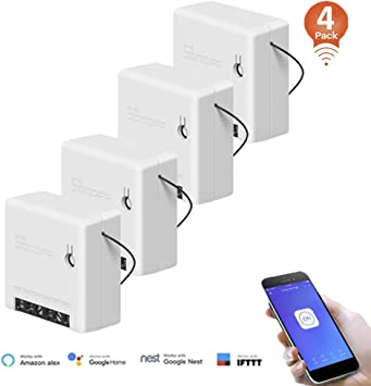 SONOFF Smart WiFi Switch Mini 2 Way Light Switch,Compatible with Alexa//Google Home//Nest//IFTTT,APP Remote Control Switch,Voice Control,Timer Function,Support LAN Control,No Hub Required 3 Pack