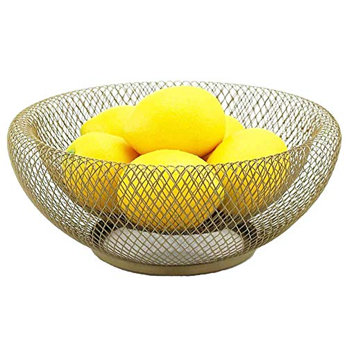 Metal Mesh Creative Countertop Fruit Basket Bowl Stand for Kitchen, Living Room, Small Round Decorative Table Centerpiece Dish Holder for Bread, Candy, Snacks, Egg, K Cup, 10 Inch (Gold) ()