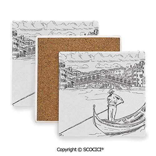 Ceramic Coasters with Cork Base, Prevent Furniture from Dirty and Scratched, Suitable for Kinds of Mugs and Cups,Venice,Rialto Bridge with Gondola Romantic Italian Landmark,3.9