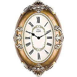 20-inch Large Size Oval-shaped Living Room Wall Clock Silent Sweep Second Quartz Movement Wall Clocks with Decorative Border DYD66152 (Copper)