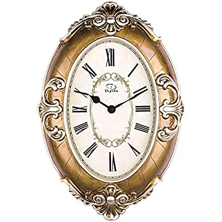 Amazon.com: 20-inch Large Size Oval-shaped Living Room Wall Clock Silent Sweep Second Quartz Movement Wall Clocks with Decorative Border DYD66152 (Beige): ...