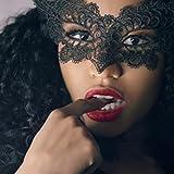 Lace Mask,Sixcup Catwoman Eye Mask Lace Masquerade Masks Sexy Eye Mask Sexy Lady Girl Lace Eye Mask Prom Mask Eye Mask Party Mask Mysterious Mask for Halloween Carnival Make Up (Black, 19x14.5 cm)
