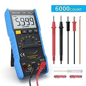 Multímetro Digital 6000 Cuentas, Polímetro Digital True RMS Autorango morpilot Tester NCV para medir AC/DC Voltage Corriente Resistencia Capacidad Temperatura LCD Retroiluminada