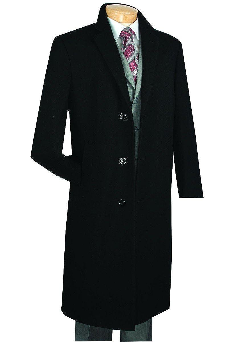 Vinci Men's 3 Botton Single Breated Cashmere Wool Overcoat CL48-1