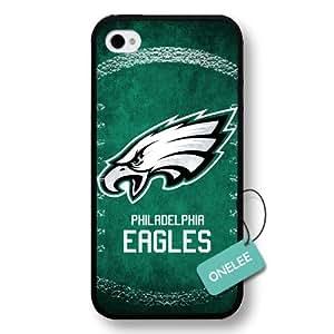 Onelee(TM) - NFL Team Logo iPhone 4 case - Custom Personalized Philadelphia Eagles Hard Plastic iphone 4S Cover - Black24