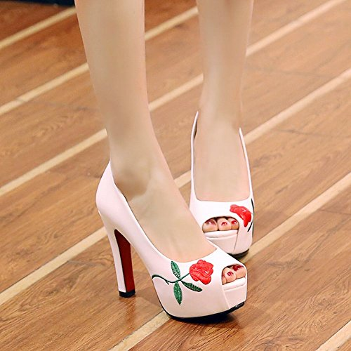 Mee Shoes Women's Fashion High Heel Fish Mouth Platform Court Shoes White hTLKZ1KTAV