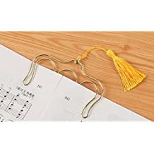 """Hollow Comb Shaped Metal Bookmarks Clip Page Holder with Tassels for Magzines Music Scores from Hoocozi, 1Pce, Gold, Length 3.74"""""""