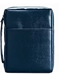 Blue Embossed Cross with Front Pocket X-Large Leather Look Bible Cover with Handle
