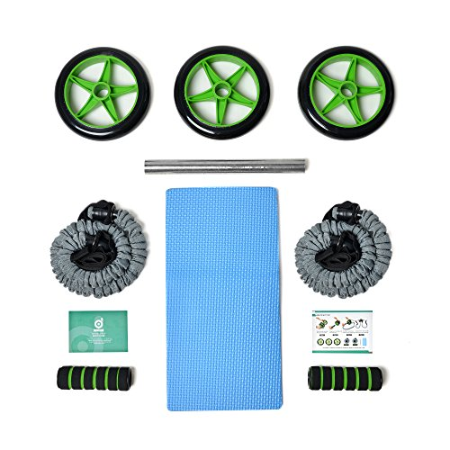 Odoland 3-In-1 AB Wheel Roller Kit AB Roller Pro with Resistant Band,Knee Pad,Anti-Slip Handles and Storage Bag - Perfect Abdominal Core Carver Fitness Workout for Abs by Odoland (Image #7)
