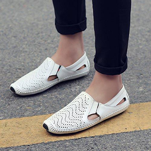 de Cuero de Planos Mocasines katliu On Mocasín Blanco Casual Zapatos Slip Zapatos Zapatillas Loafers Hombre de FwqWzO8