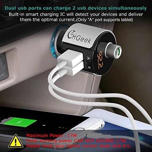Transmetteur FM, CHGeek adaptateur de radio de voiture sans fil Transmetteur Bluetooth FM Lecteur MP3 3.4A Chargeur de voiture double USB C avec écran LED mains libres pour iPhone, iPad, iPod, Samsung, Android durable modeling