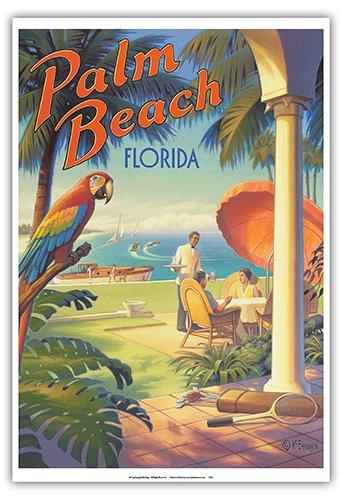 (Palm Beach, Florida - Vintage Style World Travel Poster by Kerne Erickson - Master Art Print - 13 x)