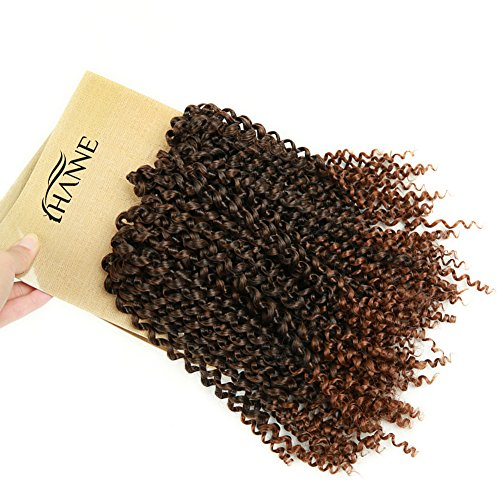 HANNE Afro Kinkys Curly Hair Braiding Curly Hair 3X Crochet Hair 12 Inches Braided Jerry Curl Synthetic Hair Extensions (T1B/30)