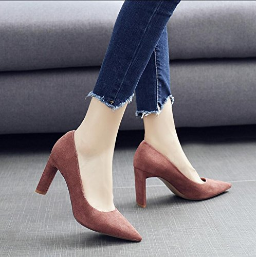 Light The And Pink Tip 5Cm Of Matt Fall High Is Solid Shoe Girl 37 Single Comfortable Color Versatile Heeled New KHSKX Women Shoes In Thick 8 Shoe With And 7xwq5SWP