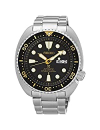 Seiko Turtle Prospex Automatic Dive Watch with Black Dial and Stainless Steel Bracelet SRP775