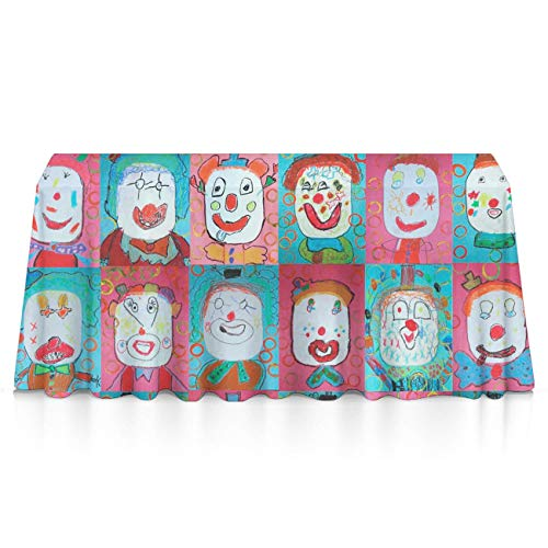 GLORY ART Halloween Colorful Clown Premium Tablecloths Home Decor Extra Large Rectangle Tablecloth Tapestry 60x84 inch, Perfect for Buffet Table, Parties, Patio, Holiday Dinner, Wedding,Picnic]()