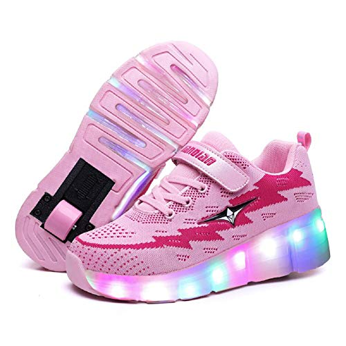 Shoe Skateboarding Boys (Ufatansy LED Shoes USB Charging Flashing Sneakers Light Up Roller Shoes Skates Sneakers with Wheels for Kids Girls Boys(4 M US =CN36, Single Wheel, Pink))