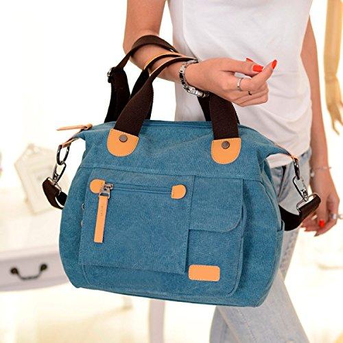 Frauen Jahrgang Leinwand Schulter Ipad Messenger Handtasche Schule Multifunktional Tasche ,B-OneSize