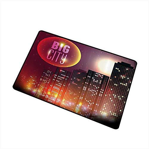 (Axbkl Modern Door mat Modern Big City Theme Urban Skyline Night Lights Full Moon Stars and Skyscrapers Image W30 xL39 Super Absorbent mud Multicolor)