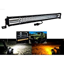 """30"""" Amber White Dual Color Changing LED Light bar Harness Anti-theft Security Bolt Strobe Flashing Emergency Driving Fog Spot Light Offroad SUV Truck Marine and Heavy Equipment 12-32 Volts"""