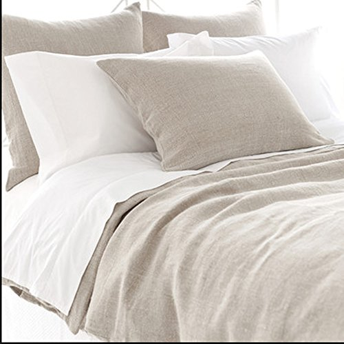 Twin Soft Real White Flax French Stonewashed Linen Beddin...