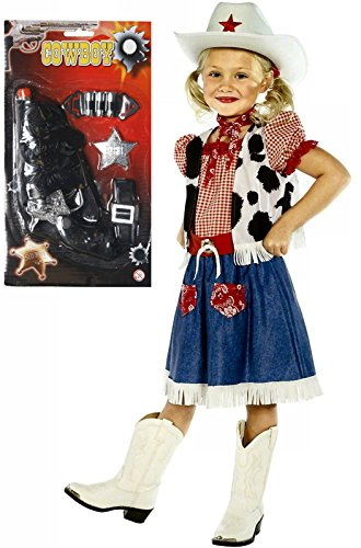 Girls Cowboy Cowgirl Fancy Dress Costume Outfit With Gun Age 7-9 (Cowboy Outfit Kids)