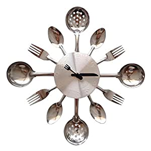ZHPUAT 14 Inch Stainless Steel Housewares Cutlery Indoor/Outdoor Wall Clock Silver