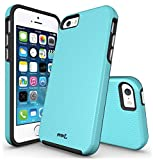 iPhone 5S Case, iPhone SE Case, MoboZx [Premium Texture] Dual-Layer [Rugged PC + Flexible TPU] Slim Protective Grippery Heavy-Duty Scratch-Resistant Shock-Proof Bumper For iPhone 5/5S/SE (Turquoise)