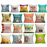 Ikevan Hot Selling Pillowcase Easter Sofa Bed Home Decoration Festival Pillow Case Cushion Cover 18x18 Inch (16)
