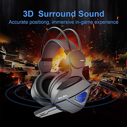Gaming Headset New bee Stereo Over Ear Gaming Headphone for PS4, PC, Xbox One with Mic, LED Light 3.5mm Wired Volume Control Soft Memory Earmuffs for Laptop, Mac, iPad, Nintendo Switch by New bee (Image #2)