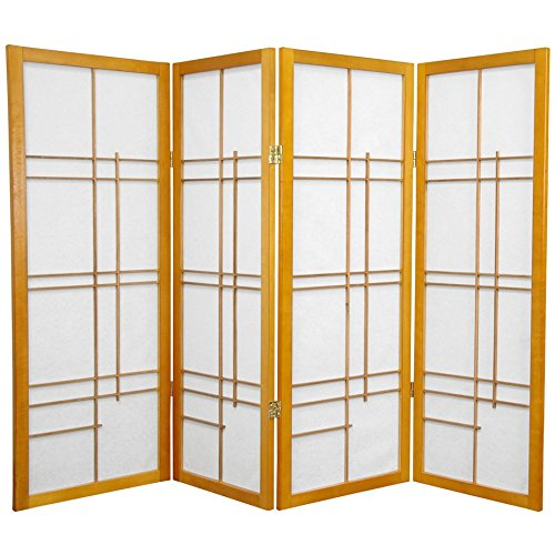 Oriental Furniture 4 ft. Tall Eudes Shoji Screen - Honey - 4 Panels (Lamp Screen Asian)