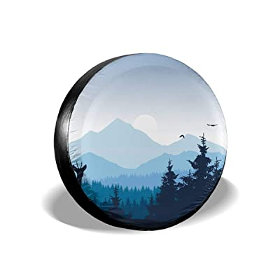"""smartgood Realistic Mountain Landscape Forest Nature Abstract Spare Wheel Tire Cover Waterproof Dust-Proof Universal for Jeep,Trailer, RV, SUV and Many Vehicle 14"""" 15"""" 16"""" 17"""": Clothing"""