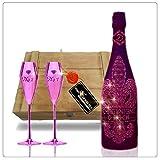 Luxus Champagner Geschenkset Champagne D. Rock Rosé - inkl. 2 Rosé Champagnergläsern in der gesiegelten Vintage-Holzkiste. Das Luxus Geschenk für Männer und Frauen. Die Alternative zu Moet Ice und Veuve Clicquot & Dom Perignon. Vintage-Luxury für Champagnerliebhaber. pink noir Champagnergläser rose