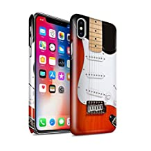 STUFF4 Gloss Hard Back Snap-On Phone Case for Apple iPhone X/10 / Red Electric Design / Guitar Collection