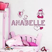 Wall Decals Personalized Name Angel Birds Wings Halo Heart Vinyl Sticker Nursery Room Bedroom Decal Baby Boy Girl Home Decor Art Murals DA3719