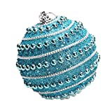 Merry Christmas Rhinestone Glitter Baubles Balls,Pausseo 8cm Xmas Tree Ornament Decoration Hanging Pendant Creative Display DIY Home Decor Door Hanging Kids Toy Doll Gift Festival Prop (Blue)