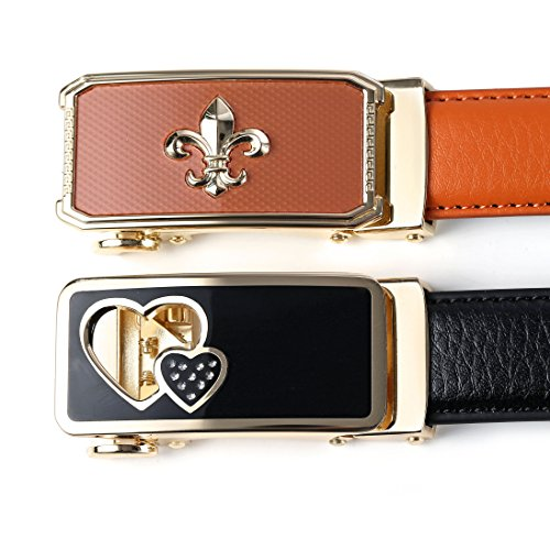Set of 2 Women's Sliding Skin Buckle Gold Belts Design with Automatic Ratchet Leather Belt For Women By ANDY GRADE