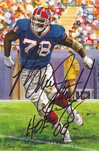 Bruce Smith Autographed Buffalo Bills Goal Line Art HOF 09 Black 13263 - Original NFL Art and Prints Bruce Smith Autographed Buffalo Bills
