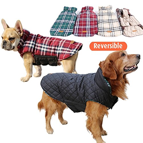 Doglemi Pet Dog British-style Dual-use Winter Coat Against Cold Weather Warm Jacket Coat Windproof Plaid Grid Reversible Design Coat Apparel for Puppy Red S - Winter Jackets For Dogs
