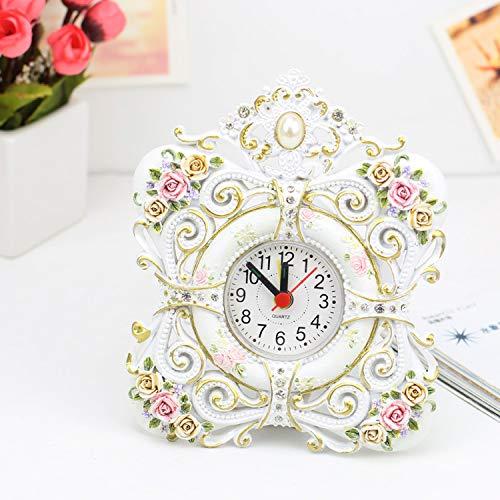 Blinkle Romantic Cartoon Small Alarm Clock Resin Rose Desk Clock Home Clock Creative Gift Mini Cute Clock AA Battery