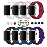 Yimzen Soft Silicone Sport iWatch Band Strap for Apple Watch Series 3 2 1 Sport & Edition 38mm S/M 8Pack